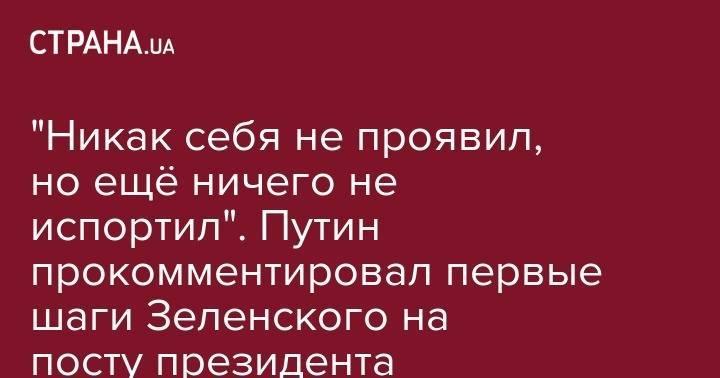 """""""Никак себя не проявил, но ещё ничего не испортил"""". Путин прокомментировал первые шаги Зеленского на посту президента Украины"""