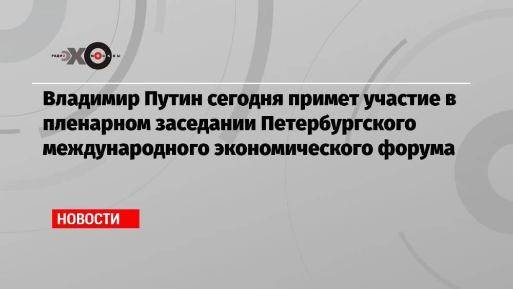 Владимир Путин сегодня примет участие в пленарном заседании Петербургского международного экономического форума