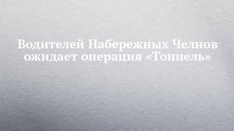 Водителей Набережных Челнов ожидает операция «Тоннель»