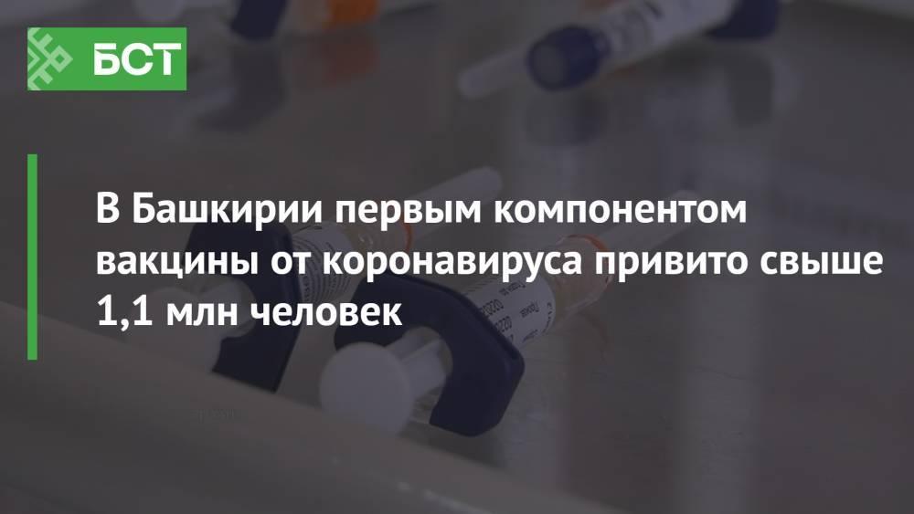 В Башкирии первым компонентом вакцины от коронавируса привито свыше 1,1 млн человек
