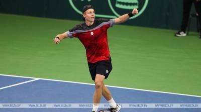 Белорусский теннисист Илья Ивашко вышел в 1/8 финала турнира в Санкт-Петербурге