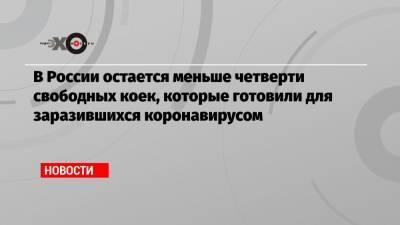 В России остается меньше четверти свободных коек, которые готовили для заразившихся коронавирусом