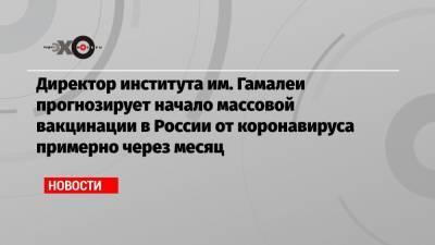 Директор института им. Гамалеи прогнозирует начало массовой вакцинации в России от коронавируса примерно через месяц