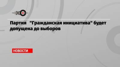 Партия «Гражданская инициатива» будет допущена до выборов