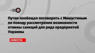 Путин пообещал поговорить с Мишустиным по поводу рассмотрения возможности отмены санкций для ряда предприятий Украины