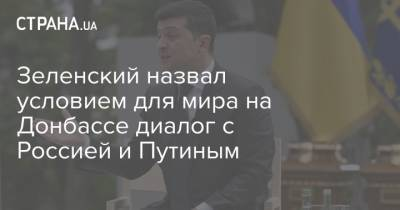 Зеленский назвал условием для мира на Донбассе диалог с Россией и Путиным