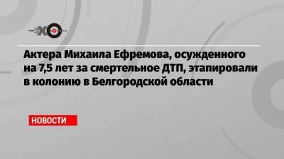 Актера Михаила Ефремова, осужденного на 7,5 лет за смертельное ДТП, этапировали в колонию в Белгородской области