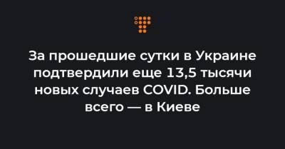 За прошедшие сутки в Украине подтвердили еще 13,5 тысячи новых случаев COVID. Больше всего — в Киеве