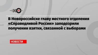 В Новороссийске главу местного отделения «Справедливой России» заподозрили получении взятки, связанной с выборами
