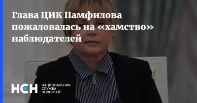 Глава ЦИК Памфилова пожаловалась на «хамство» наблюдателей