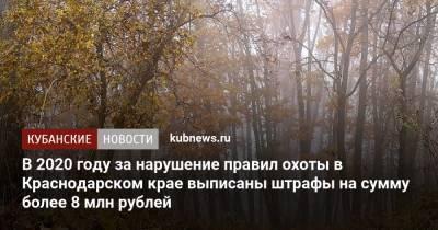 В 2020 году за нарушение правил охоты в Краснодарском крае выписаны штрафы на сумму более 8 млн рублей