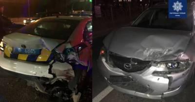 В Киеве пьяный водитель протаранил авто копов, пострадала патрульная (видео)