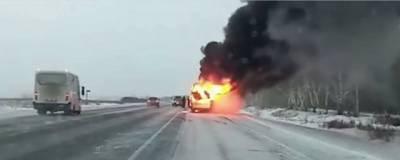 В Омской области на трассе сгорела пассажирская маршрутка