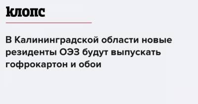 В Калининградской области новые резиденты ОЭЗ будут выпускать гофрокартон и обои