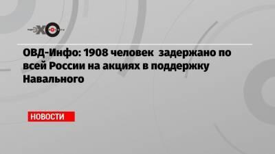 ОВД-Инфо: 1908 человек задержано по всей России на акциях в поддержку Навального
