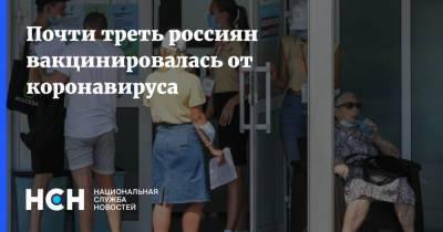 Почти треть россиян вакцинировалась от коронавируса