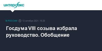 Госдума VIII созыва избрала руководство. Обобщение