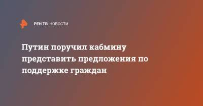 Путин поручил кабмину представить предложения по поддержке граждан