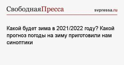 Какой будет зима в 2021/2022 году? Какой прогноз погоды на зиму приготовили нам синоптики