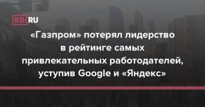 «Газпром» потерял лидерство в рейтинге самых привлекательных работодателей, уступив Google и «Яндекс»