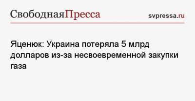 Яценюк: Украина потеряла 5 млрд долларов из-за несвоевременной закупки газа