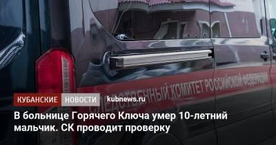 В больнице Горячего Ключа умер 10-летний мальчик. СК проводит проверку