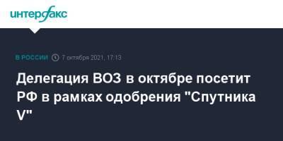 """Делегация ВОЗ в октябре посетит РФ в рамках одобрения """"Спутника V"""""""