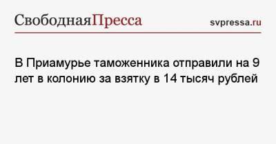 В Приамурье таможенника отправили на 9 лет в колонию за взятку в 14 тысяч рублей