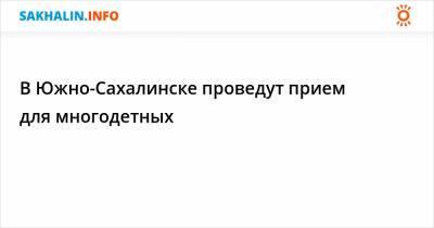 В Южно-Сахалинске проведут прием для многодетных
