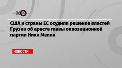 США и страны ЕС осудили решение властей Грузии об аресте главы оппозиционной партии Ники Мелии