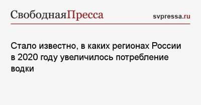 Стало известно, в каких регионах России в 2020 году увеличилось потребление водки