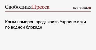 Крым намерен предъявить Украине иски по водной блокаде