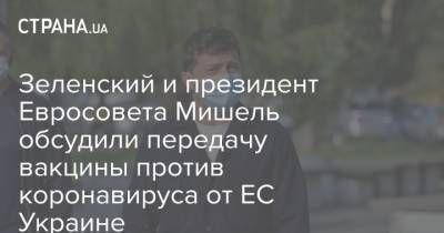 Зеленский и президент Евросовета Мишель обсудили передачу вакцины против коронавируса от ЕС Украине