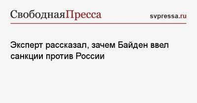 Эксперт рассказал, зачем Байден ввел санкции против России