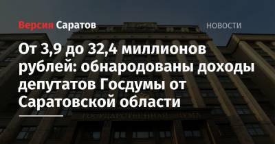 От 3,9 до 32,4 миллиона рублей: обнародованы доходы депутатов Госдумы от Саратовской области