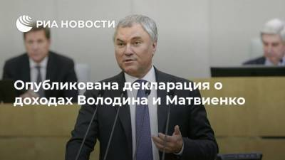 Опубликована декларация о доходах Володина и Матвиенко