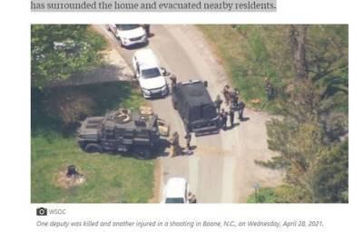 В Северной Каролине мужчина убил заместителя шерифа и забаррикадировался
