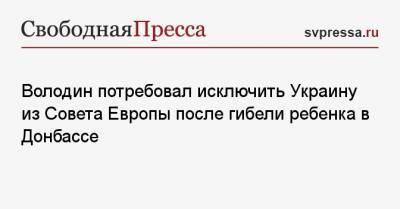 Володин потребовал исключить Украину из Совета Европы после гибели ребенка в Донбассе