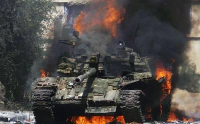 На территории воинской части в Буйнакском районе Дагестана загорелся танк