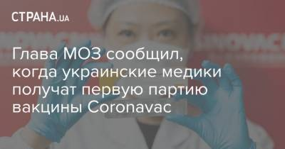 Глава МОЗ сообщил, когда украинские медики получат первую партию вакцины Coronavac