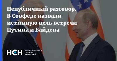 Непубличный разговор. В Совфеде назвали истинную цель встречи Путина и Байдена