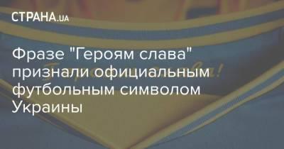 """Фразe """"Героям слава"""" признали официальным футбольным символом Украины"""