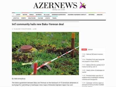 Мировое сообщество приветствует передачу Азербайджаном задержанных армян в обмен на карту минных полей - газета Azernews