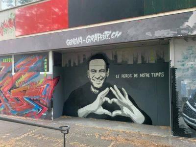 В Женеве перед встречей Путина и Байдена появилось граффити с Навальным