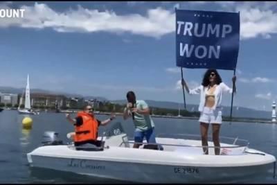 Племянница бен Ладена выразила протест саммиту в Женеве плакатом «Трамп победил»