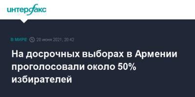 На досрочных выборах в Армении проголосовали около 50% избирателей