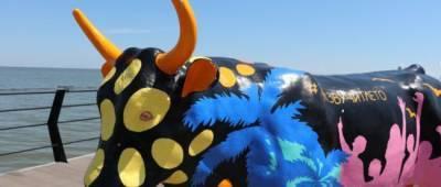 В Мариуполе на морском пирсе поселился инстаграмный бык из Киева (фото)