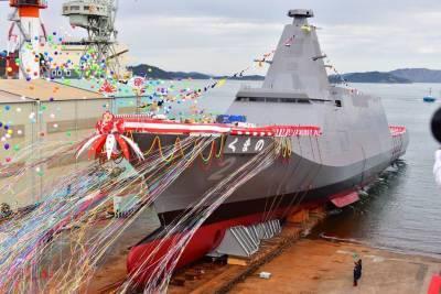 В Японии спустили на воду третий из серии многоцелевых фрегатов нового типа