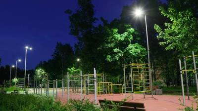 На спортивных и детских площадках Петербурга заменили освещение