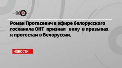 Роман Протасевич в эфире белорусского госканала ОНТ признал вину в призывах к протестам в Белоруссии.